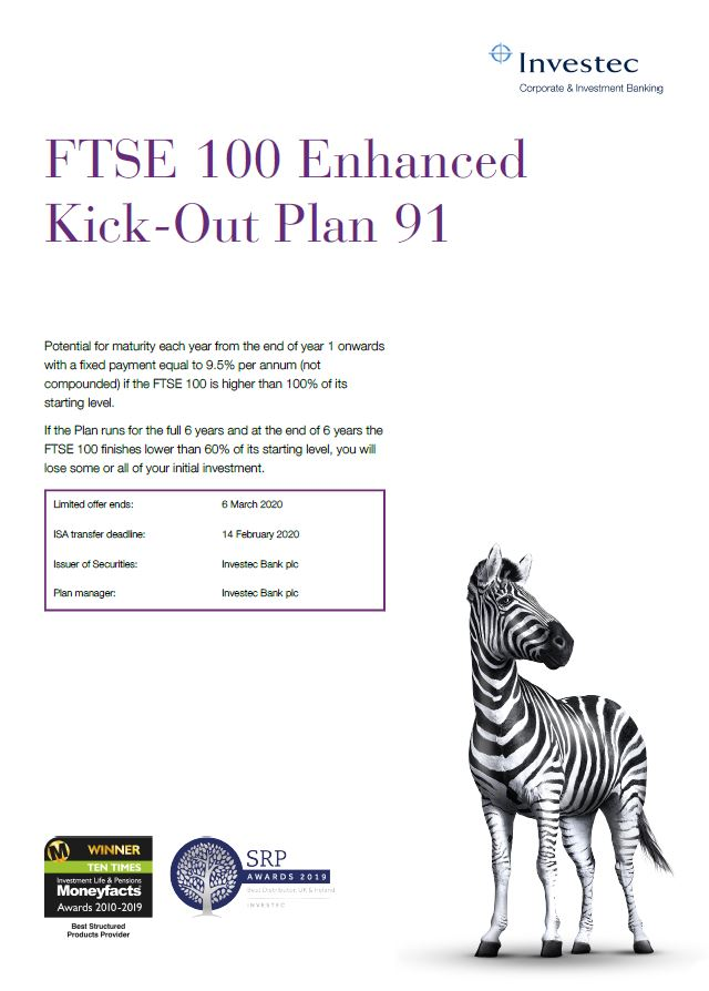 Investec FTSE 100 Enhanced Kick-Out Plan 91
