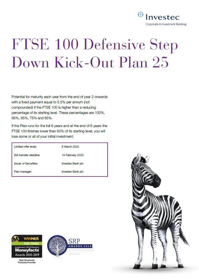 Investec FTSE 100 Defensive Step Down Kick Out Plan 25