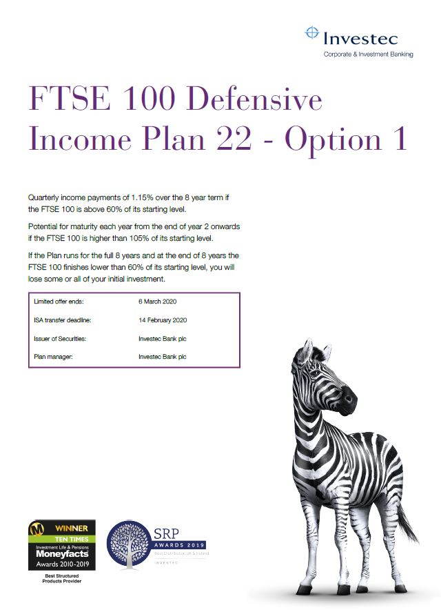 Investec FTSE 100 Defensive Income Plan 22 - Option 1