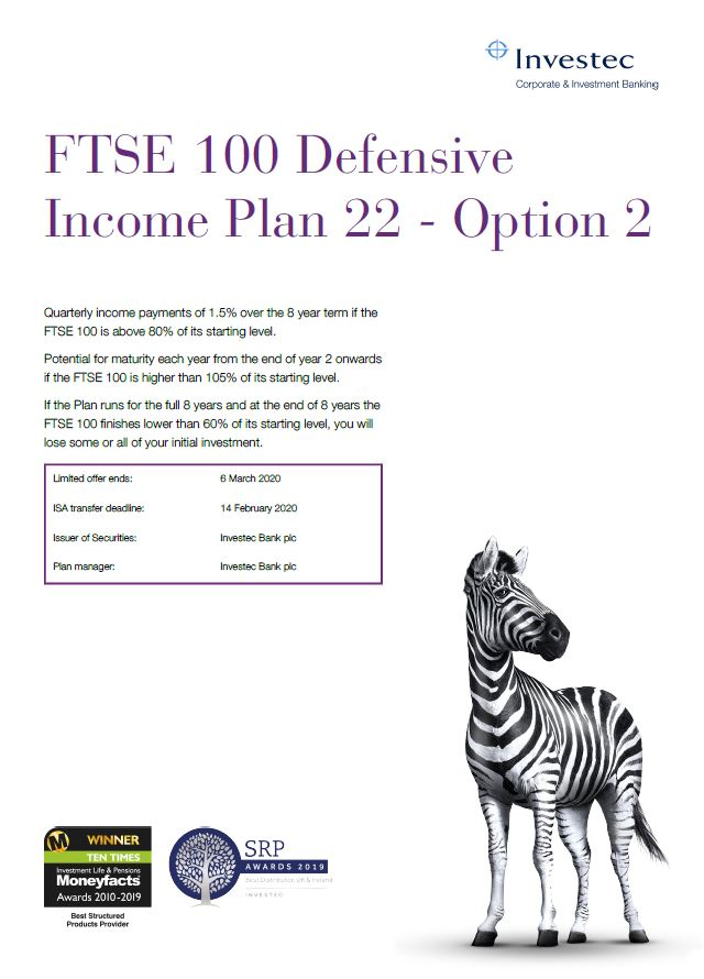 Investec FTSE 100 Defensive Income Plan 22 - Option 2