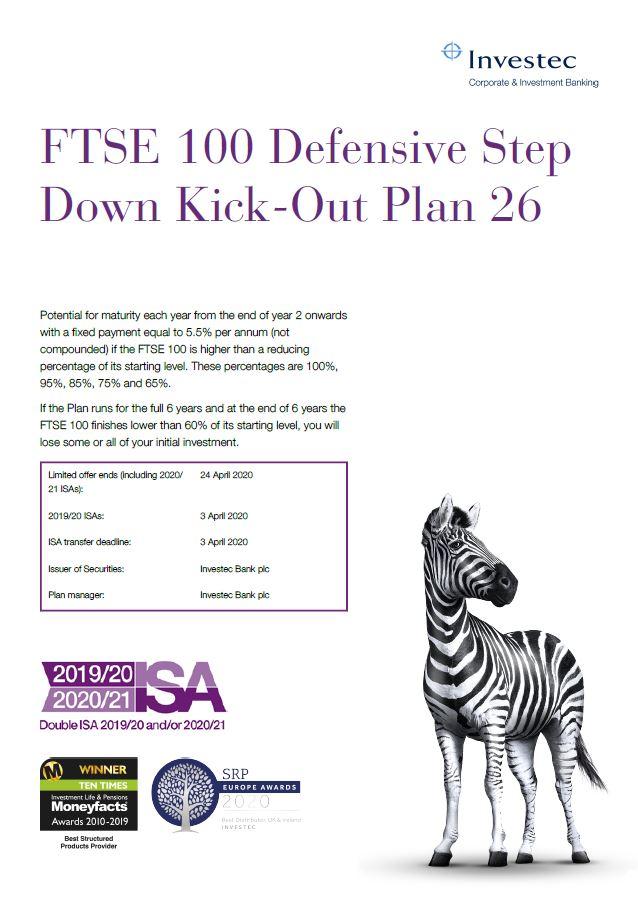 Investec FTSE 100 Defensive Step Down Kick Out Plan 26