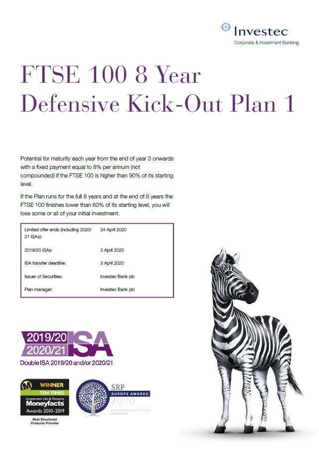 Investec FTSE 100 8 Year Defensive Kick-Out Plan 1