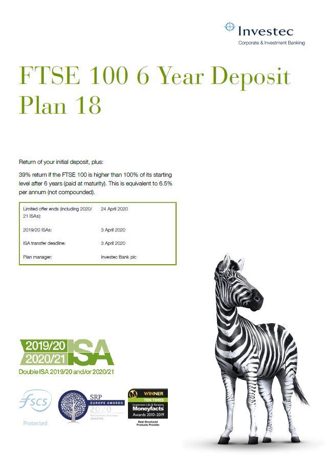 Investec FTSE 100 6 Year Deposit Plan 18