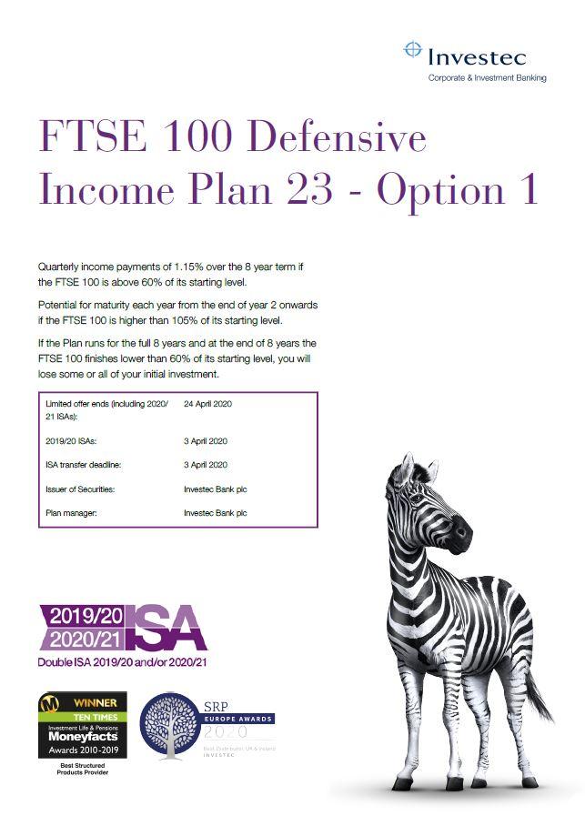 Investec FTSE 100 Defensive Income Plan 23 - Option 1