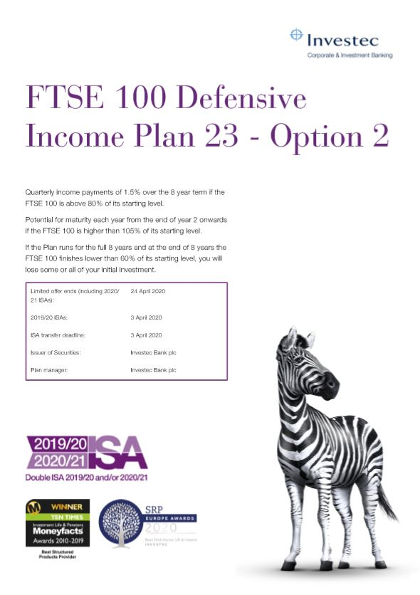 Investec FTSE 100 Defensive Income Plan 23 - Option 2