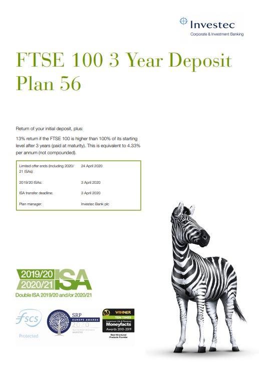 Investec FTSE 100 3 Year Deposit Plan 56