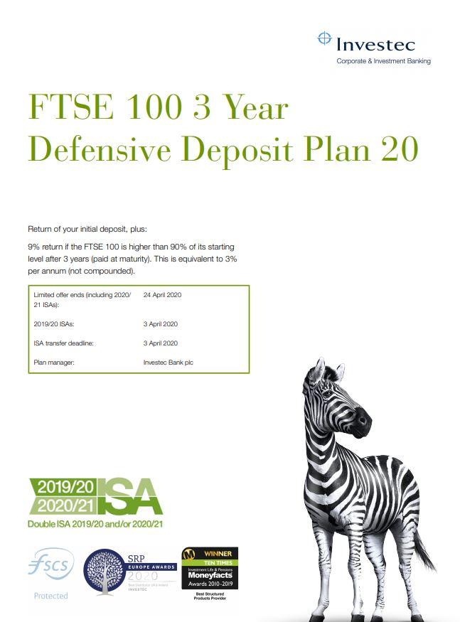 Investec FTSE 100 3 Year Defensive Deposit Plan 20