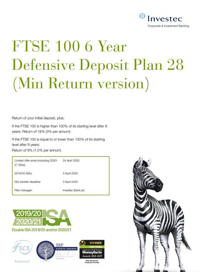 Investec FTSE 100 6 Year Defensive Deposit Plan 28 (Min Return version)