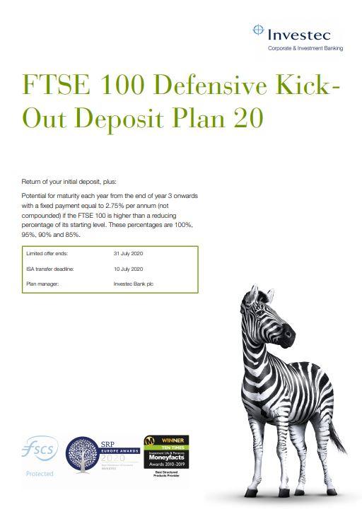 Investec FTSE 100 Defensive Kick-Out Deposit Plan 20