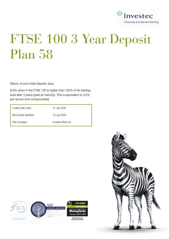 Investec FTSE 100 3 Year Deposit Plan 58