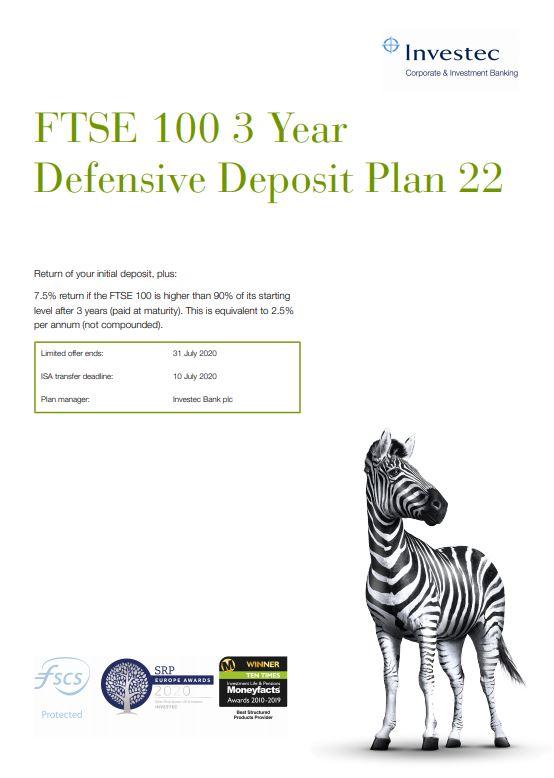 Investec FTSE 100 3 Year Defensive Deposit Plan 22