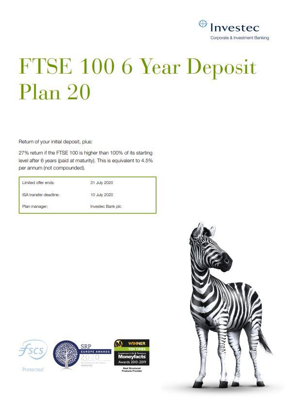 Investec FTSE 100 6 Year Deposit Plan 20