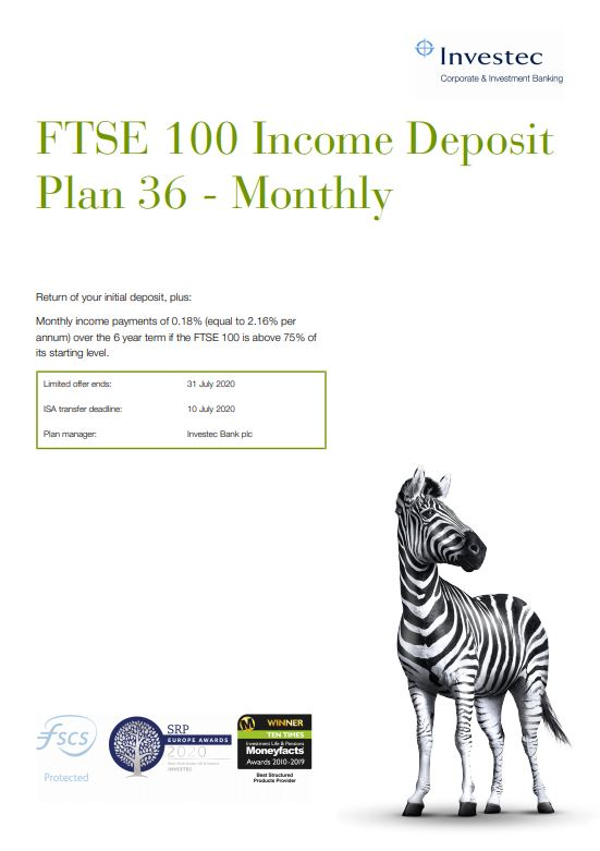 Investec FTSE 100 Income Deposit Plan 36 - Monthly