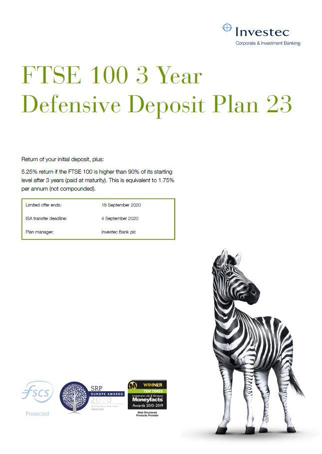 Investec FTSE 100 3 Year Defensive Deposit Plan 23
