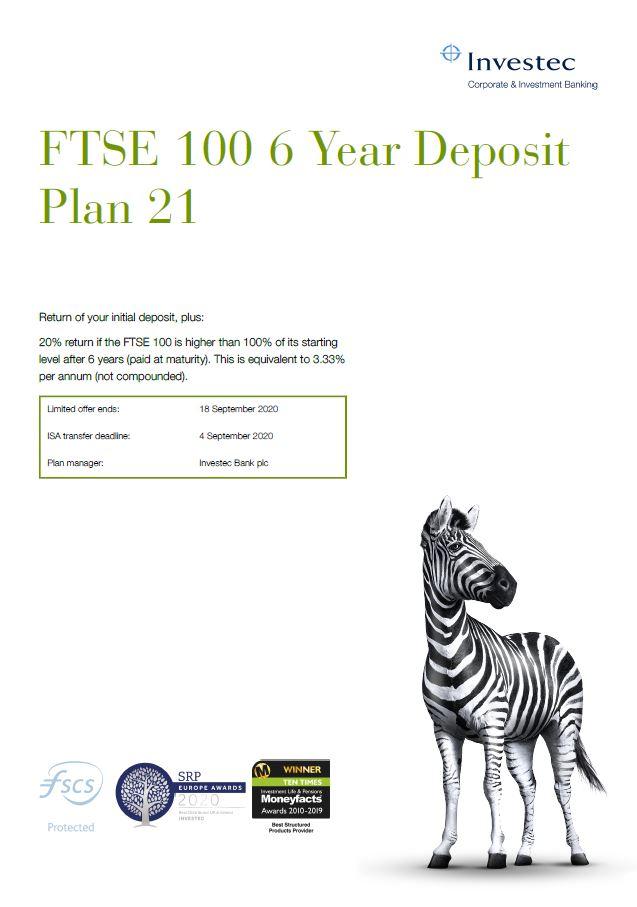 Investec FTSE 100 6 Year Deposit Plan 21