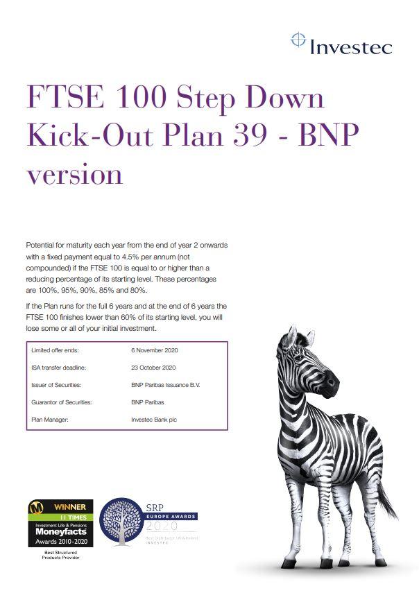 Investec FTSE 100 Step Down Kick-Out Plan 39 - BNP Version