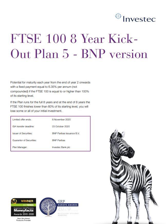 Investec FTSE 100 8 Year Kick-Out Plan 5 - BNP Version