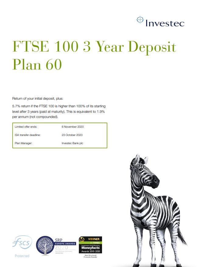 Investec FTSE 100 3 Year Deposit Plan 60