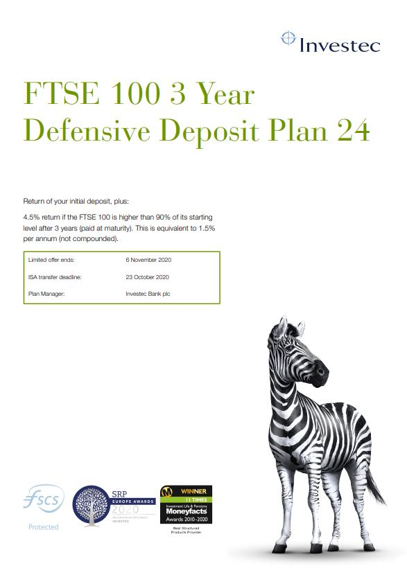 Investec FTSE 100 3 Year Defensive Deposit Plan 24