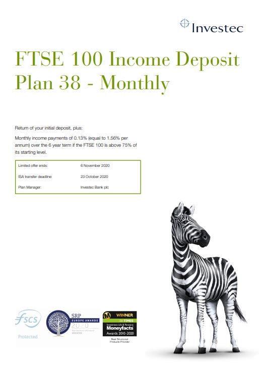 Investec FTSE 100 Income Deposit Plan 38 - Monthly