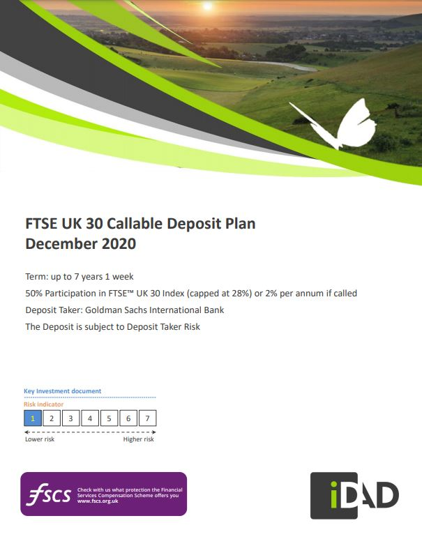 IDAD FTSE UK 30 Callable Deposit Plan December 2020