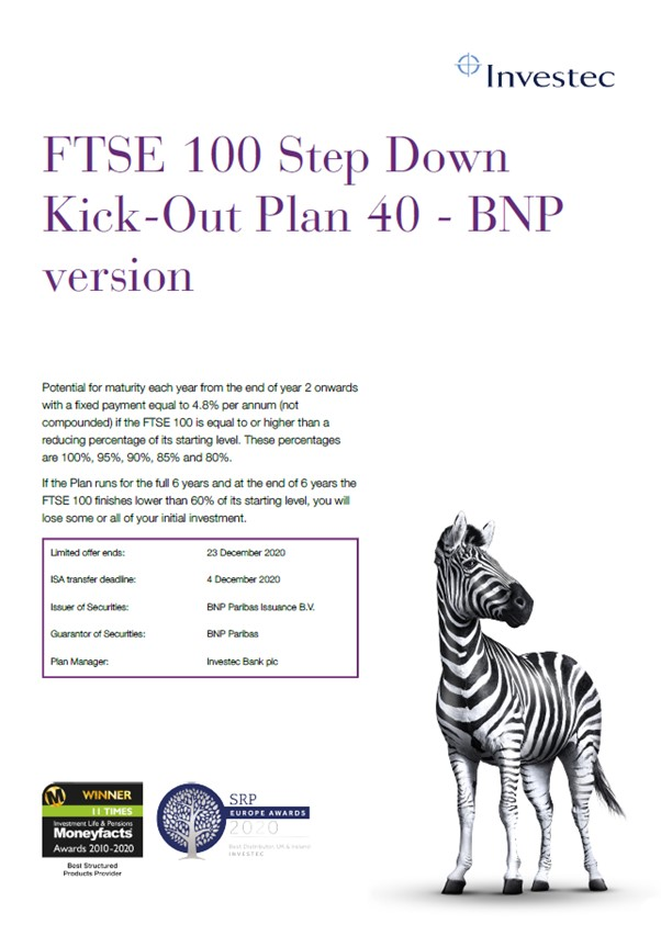 Investec FTSE 100 Step Down Kick-Out Plan 40 - BNP Version