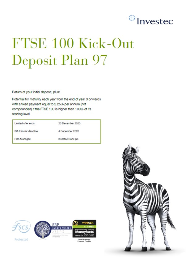 Investec FTSE 100 Kick-Out Deposit Plan 97
