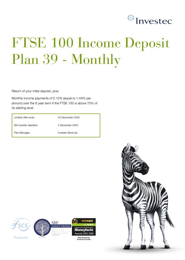 Investec FTSE 100 Income Deposit Plan 39 - Monthly