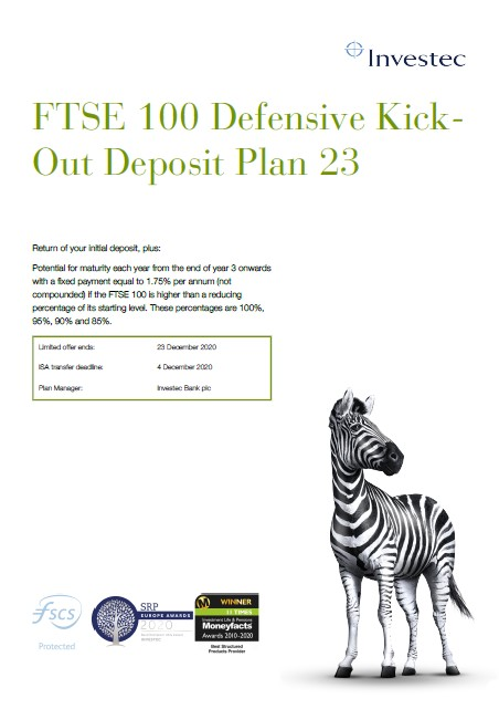 Investec FTSE 100 Defensive Kick-Out Deposit Plan 23