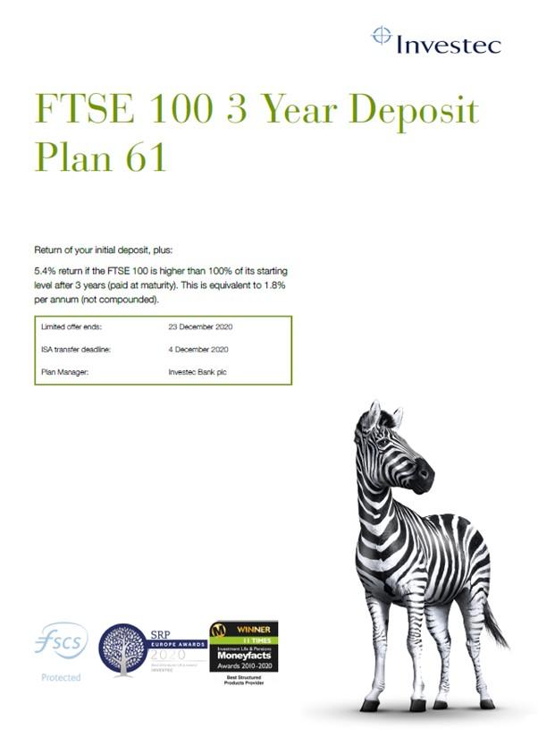 Investec FTSE 100 3 Year Deposit Plan 61