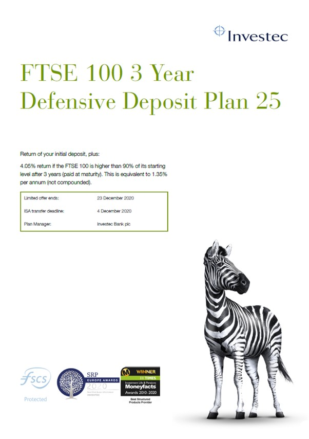 Investec FTSE 100 3 Year Defensive Deposit Plan 25