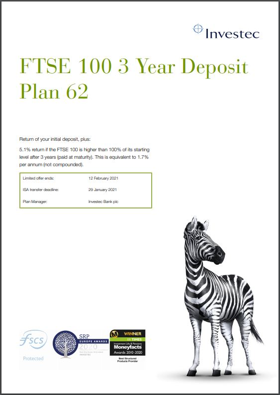 Investec FTSE 100 3 Year Deposit Plan 62