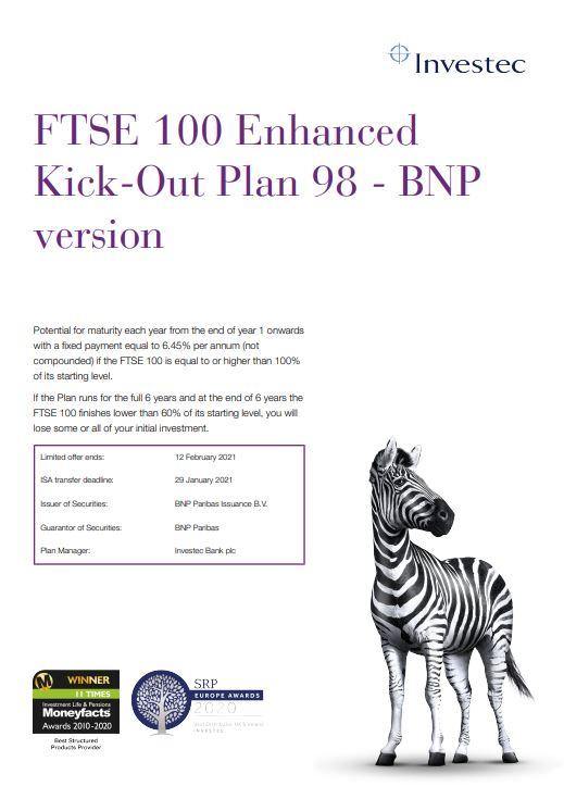 Investec FTSE 100 Enhanced Kick-Out Plan 98 - BNP Version