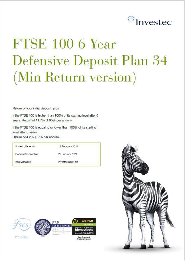Investec FTSE 100 6 Year Defensive Deposit Plan 34 (Min Return version)