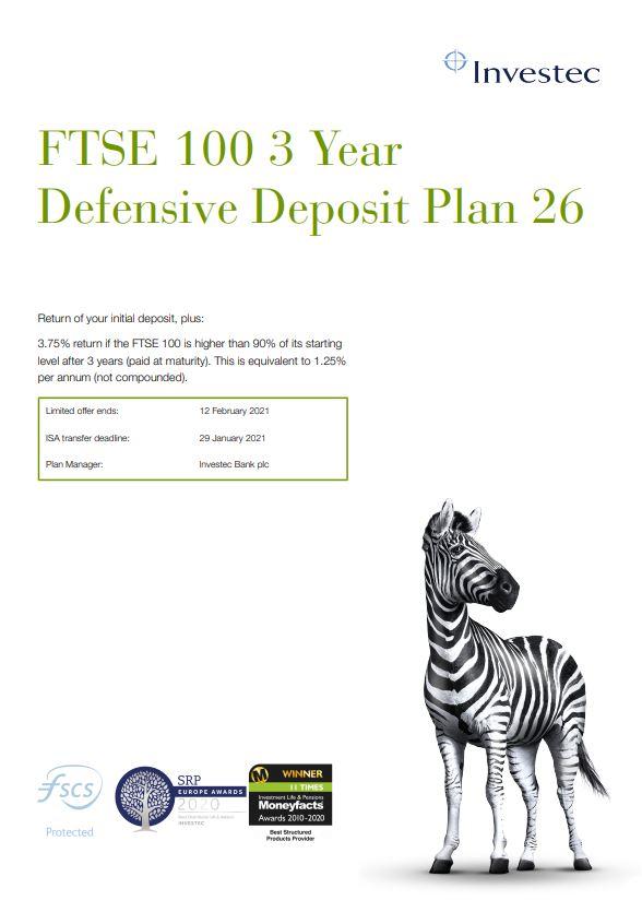 Investec FTSE 100 3 Year Defensive Deposit Plan 26