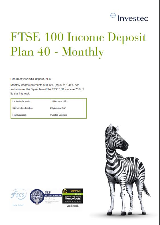 Investec FTSE 100 Income Deposit Plan 40 - Monthly