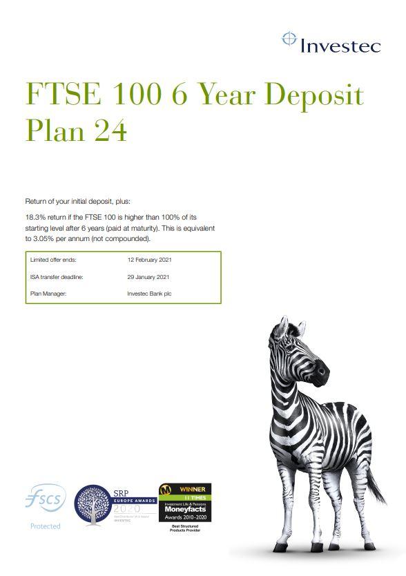 Investec FTSE 100 6 Year Deposit Plan 24
